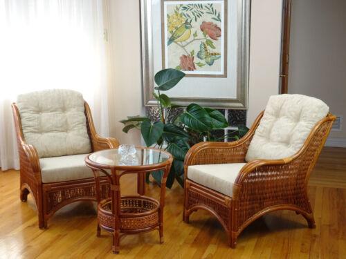 Jam Rattan Wicker Living Set 3pc Coffee Table 2 Chairs W/cream ...