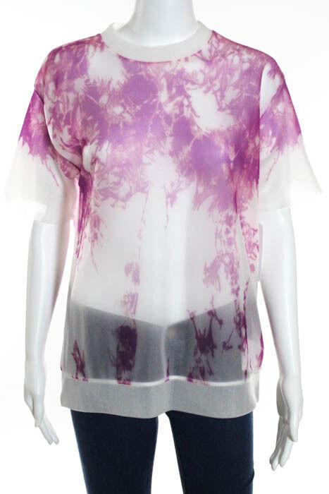 Alexander Wang lila Nylon Sheer Knit Abstract Print Top Größe Small New 108075