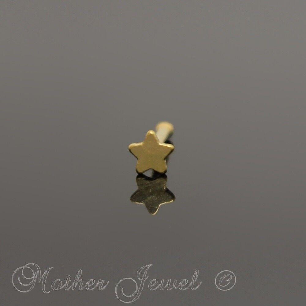 14k Yellow Gold Star Nose Stud 20g Body Piercing Jewellery