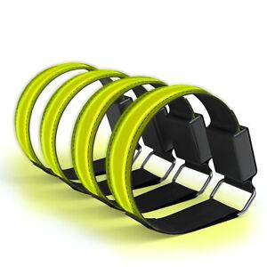 4x-LED-Leuchtarmband-Joggen-Reflektorband-Blinklicht-Sport-Armband-Gelb