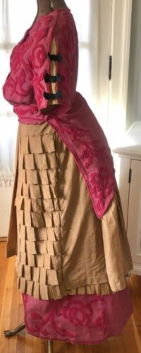 ANTIQUE VICTORIAN TRANSITIONAL ROSE CHENILLE & TAN
