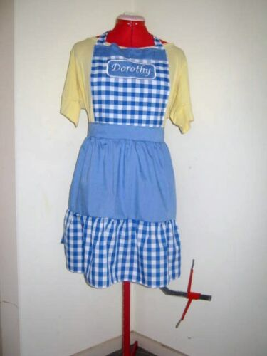LADIES CUSTONISED DOROTHY WIZARD OF OZ COSTUME APRON M2O CAN BE PERSONALISED
