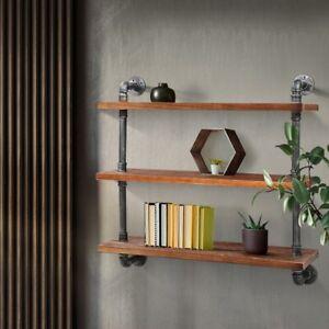 DIY Industrial Wall Pipe Shelf Rustic Floating Decor Bookshelf Shelving Home NEW
