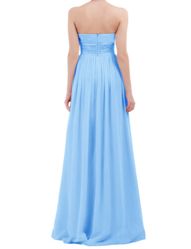 Women/'s Strapless Long Chiffon Bridesmaid Prom Dress Formal Gown Cocktail Party