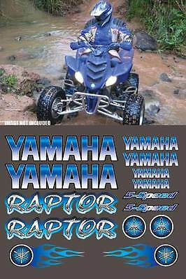 Raptor Blue Full Color 16pc Quad ATV Decals Stickers Graphics 660R, 250, 700