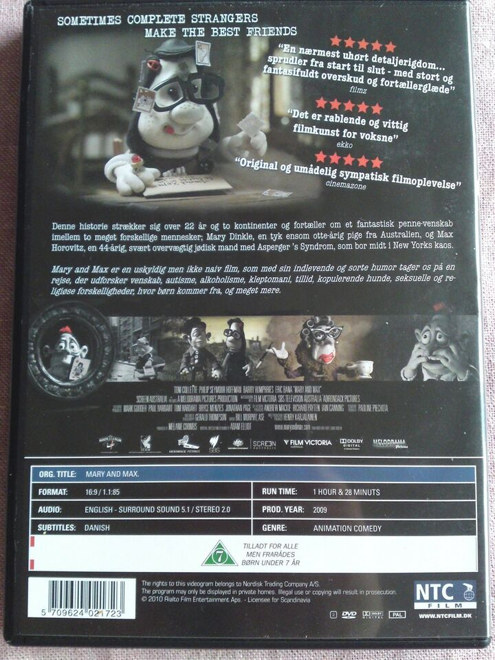 Mary and max, DVD, animation