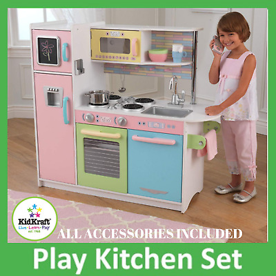 Wooden Kitchen Playset With Cordless Phone And A Chalkboard For Writing  KidKraft 710918280462 | eBay