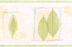 Modern-Pastel-Green-Loose-Imprint-Leaf-Blue-Twig-Frame-Beige-Wall-paper-Border