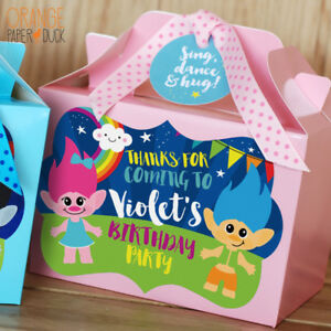 Image Is Loading Personalised Trolls Pink Blue Rainbow Party Bag Box