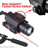 Tactical Combo Led Flashlight Lights Red Laser Sight Lock Rail Fit Pistol Glock