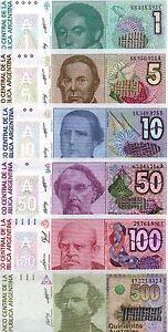 100 Australes Set of 5 Banknotes 5 PCS UNC 5 50 Argentina 1 10