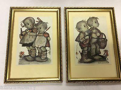 vtg Hummel Germany set of 2 boys & girls gold color framed pictures wall hanging