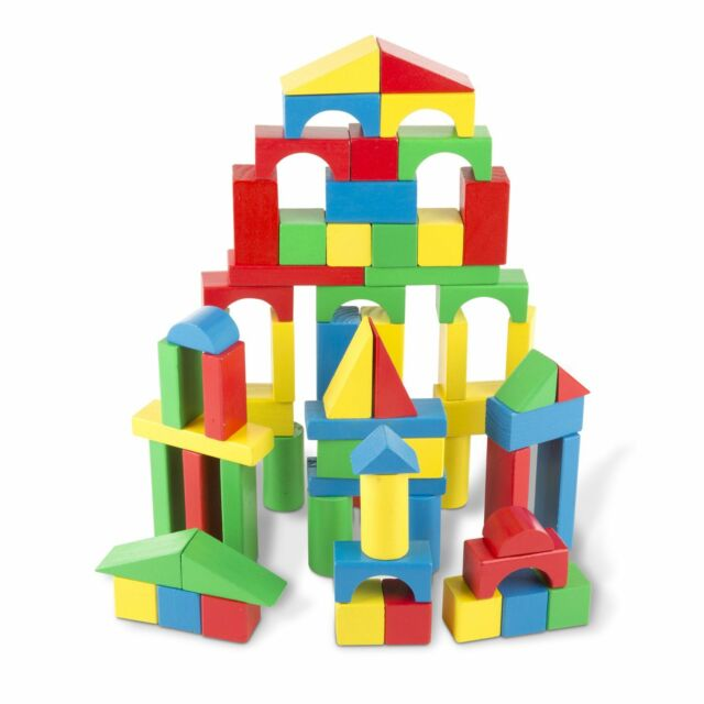 Hape Kid/'s Toddler 100 Piece Stacking Build Up and Away Wooden Blocks Toy Set