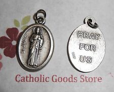 St Jude with Pray for Us on back -  Italian 1 inch Antique Silver Tone Medal