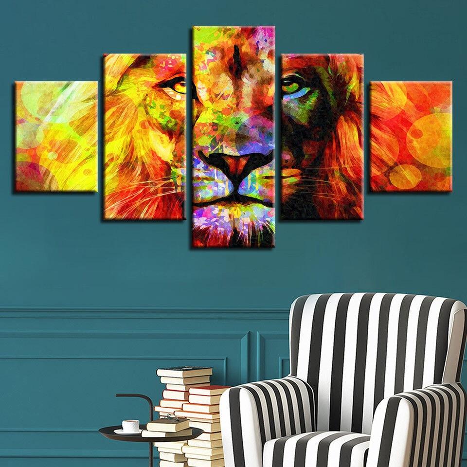 Abstract Lion Head Animal Painting 5 Panel Canvas Print Wall Art Home Decor