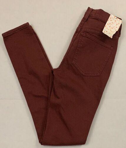 NWT Women/'s Free People Jeans sz 24 Reg Rise Slim Skinny Maroon Red Stretch