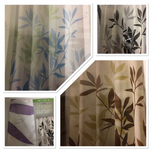 New Fabric Shower Curtain Bathroom Floral Leaves color options
