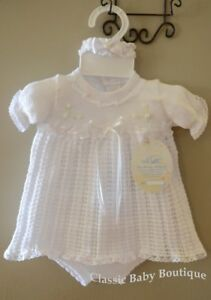 NWT-Will-039-beth-White-Knit-Ribbon-Girls-Dress-3pc-Set-Newborn-Headband-amp-Bloomers