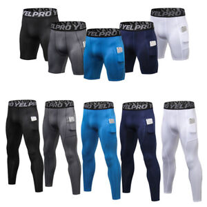 Men-039-s-Compression-Pants-Athletic-Running-Training-Gym-Shorts-with-Pocket-Bottoms