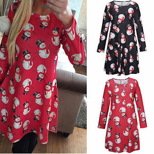 Women-Christma-Snowman-Print-Long-Sleeve-Bodycon-Casual-Family-Party-Swing-Dress