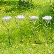 4PCS Outdoor Solar LED Lawn Diamond Lights Stainless Steel Garden Lamp Path