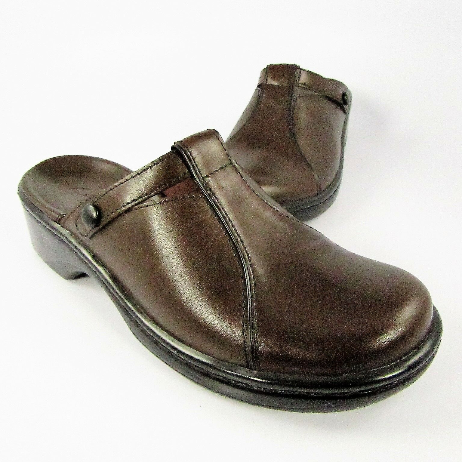 Clarks T-Strap Mules Womens Size 5M Brown Leather Slides Slip-Ons Clogs shoes