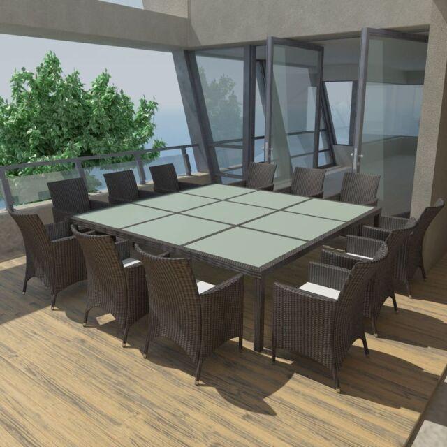 Vidaxl 25pc Outdoor Wicker Furniture Dining Set Patio Rattan Table