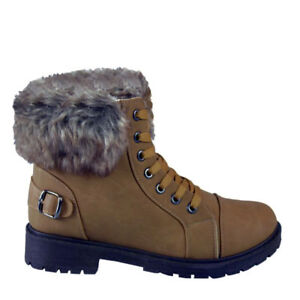 best loved 490c6 1d19b Details about New Womens Ankle Combat Boots Winter Fashion Fur Lined Faux  Ladies Camel Size