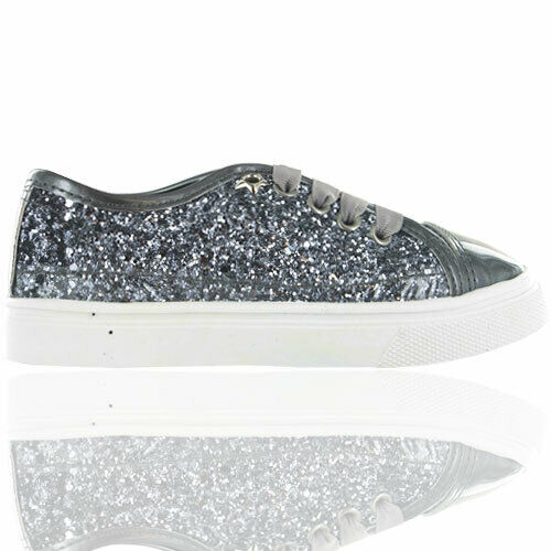 Girls Glitter Sparkle Lace Up Slip On Low Top Trainers Pumps Summer Holiday