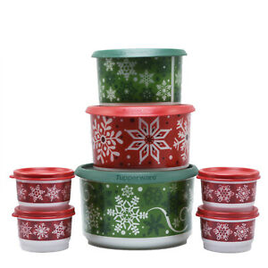 Tupperware-7-Piece-w-Lids-Christmas-Canister-Set-Snack-Cups