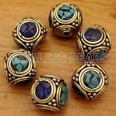 UB1871 Nepalese Artisan Turquoise Lapis Brass 6 Beads from Nepal by Eksha Limbu