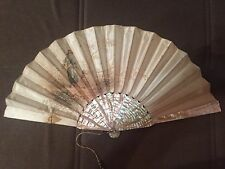 Antique silk mother of pearl hand painted fan eventail