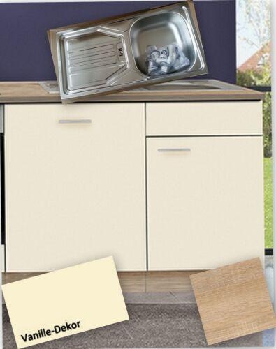 Spülenunterschrank Arbeitsplatte+Einbauspüle+Armatur MANKASIGMA Vanille 110cm