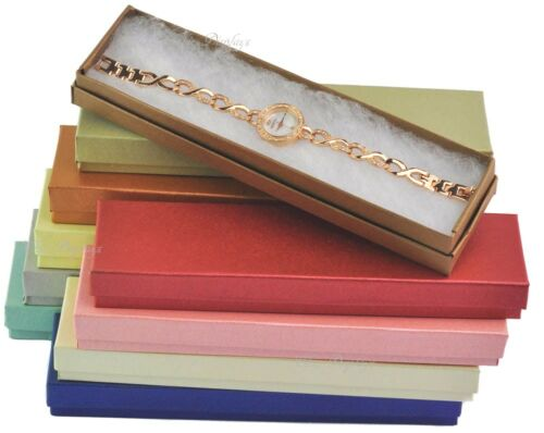 LOT OF 10 EMBOSSED FIBER COTTON FILLED BOX JEWELRY GIFT BOXES BRACELET BOX 8x2x1