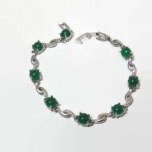 Silver-Tone-Green-Glass-Cabochon-Tennis-Bracelet
