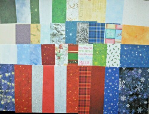 40 x A6 Sheets Asst Christmas Themes Backing Paper for Crafts 120gsm NEW
