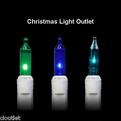 """FREE SHIP 100 Mini """"Caribbean"""" Teal Blue Green Xmas Outdoor Light 23' White Wire"""