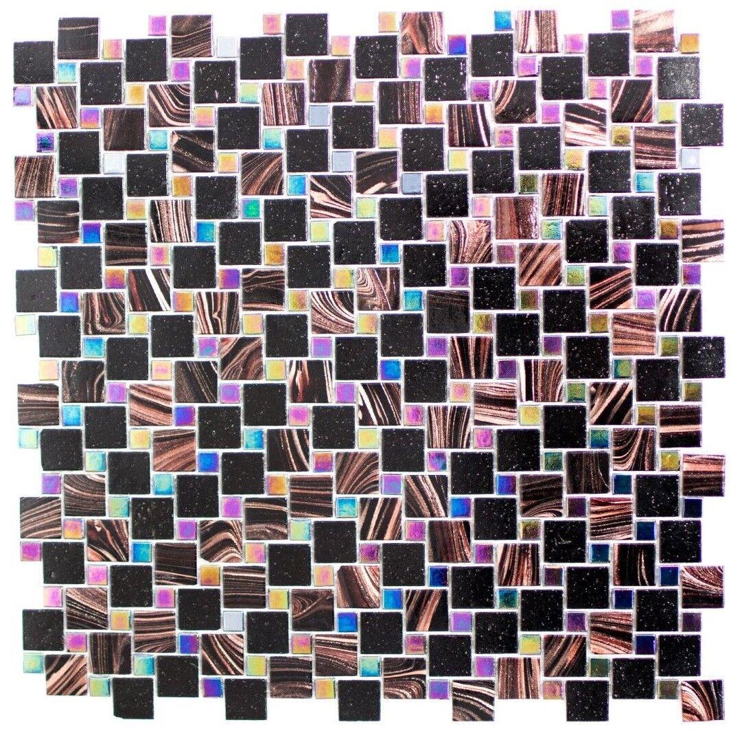 Mosaïque carreau verre combinaison iridium brun schwarz sol 57-K03_f   10 plaques