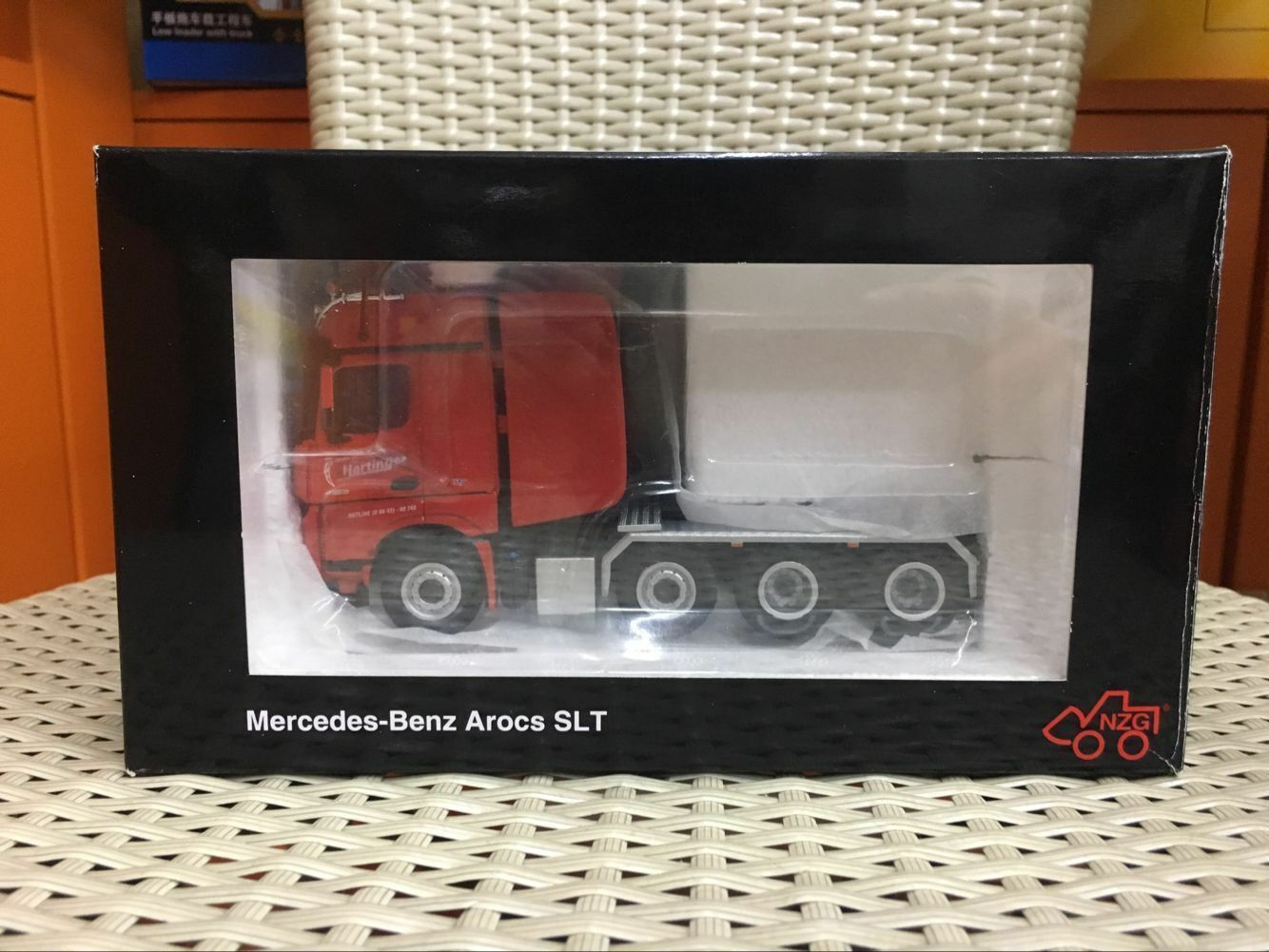 NZG 9371 02 Mercedes Benz Arocs Big Space SLT 4 Axle Hartinger Red 1 50 Tractor