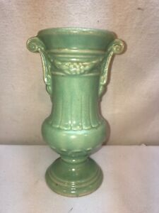 Vtg 1920-40's USA #107 Pottery Art Deco Urn Style Aqua Turquoise Green Bud Vase