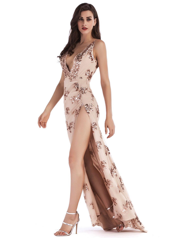 Abito lungo lungo lungo ricamato Aderente Scollo Cerimonia Party Cocktail Sequin Dress S 4f5e42