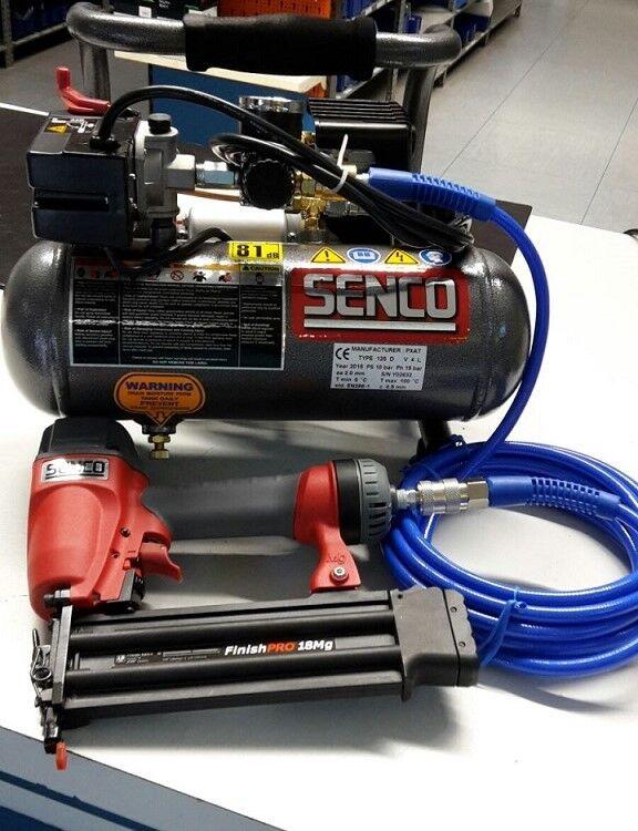 Senco Finish Pro 18  Kompressor PC1010 SET inkl. Stiftnagler und Schlauch Nägeln