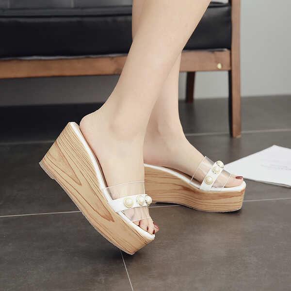 Sandale eleganti sabot zeppa ciabatte 9 bianco comodi simil pelle colorati 9828