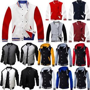 Sport Men/'s Long Sleeve Letterman Baseball Hoodie Casual Jacket Sweater Outfit