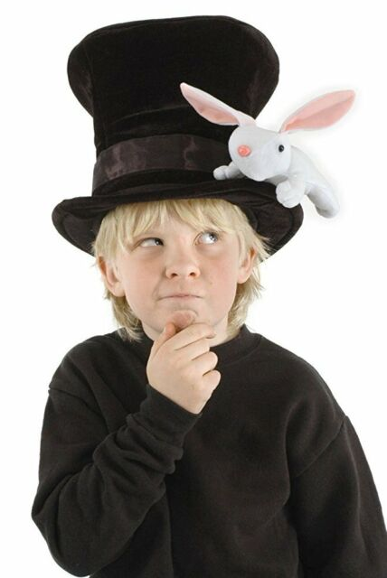 Kids Magician Hat with Rabbit Child Childrens Magic Black Top Hat Bunny NEW