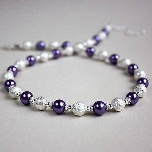 Silver-stardust-purple-pearl-beaded-collar-choker-necklace-wedding-bridal-gift