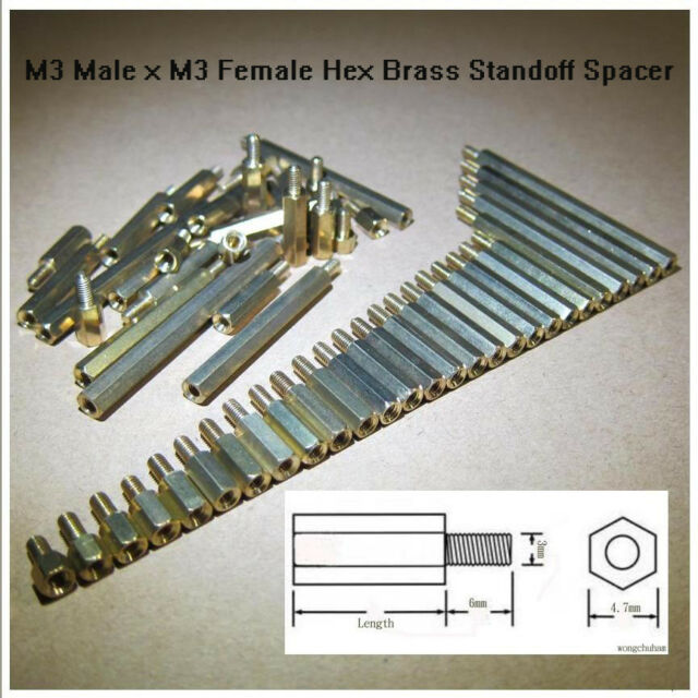 M3 Brass Hex Standoff Spacer M3 Male x M3 Female 4mm to 55mm