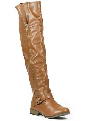 Tan Brown Fashion Over the Knee Zipper Buckle Tall Boot Forever Legend-38