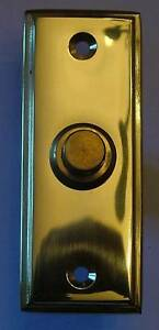 Solide Laiton Poli Rectangulaire De Style Victorien Porte Sonnette / Commutateur (pb183)-afficher Le Titre D'origine