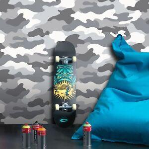Gris-Camouflage-Papier-Peint-Armee-Neuf-Militaire-Chambre